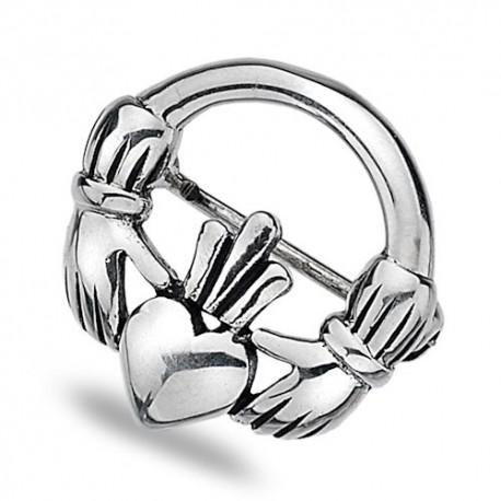 Sea Gems Claddagh Silver Brooch