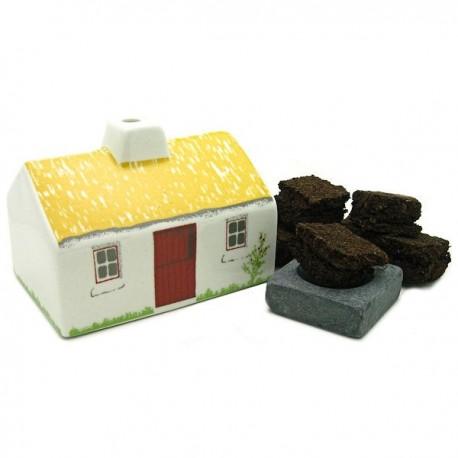 Irish Turf Incense Ceramic Cottage Set