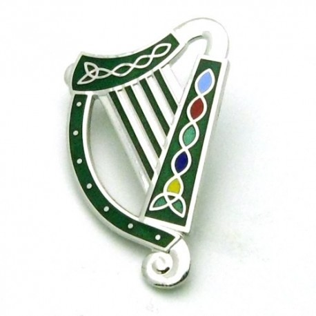 Sea Gems Irish Harp Enamel Brooch - SLV/GRN