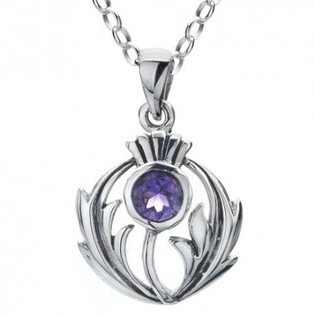 Sea Gems Round Thistle Amethyst & Silver Pendant