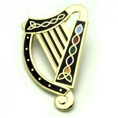 Sea Gems Irish Harp Enamel Brooch - GLD/BLK