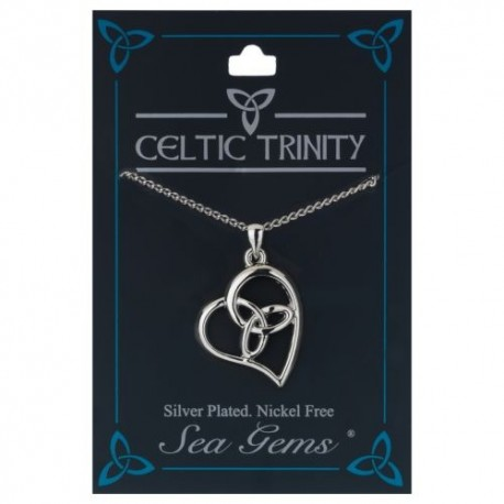 Sea Gems Trinity Knot Heart Silver Plate Pendant