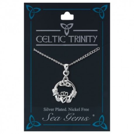 Sea Gems Claddagh & Trinity Knot Plated Pendant