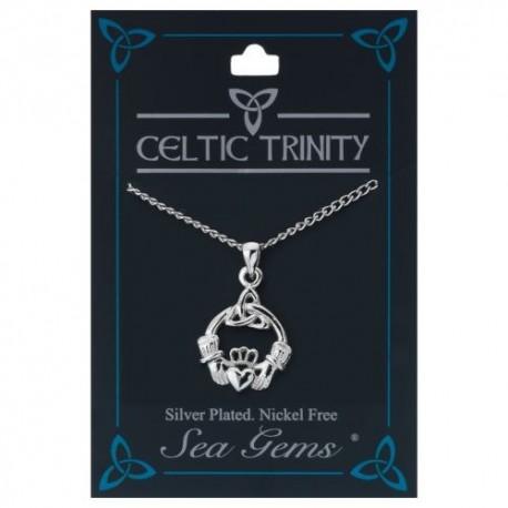 Sea Gems Plated Claddagh & Trinity Knot Pendant
