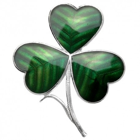 Sea Gems Shamrock Enamel Brooch