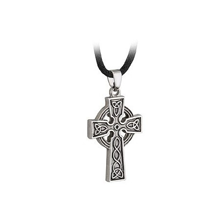 Solvar Celtic Cross Rhodium Pendant