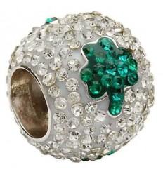 Shanore Shamrock Crystal & Silver Bead Charm
