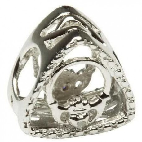 Shanore Claddagh Diamond Set Triangle Silver Charm