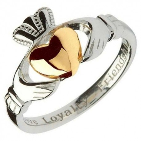 Shanore Claddagh Gold Heart Silver Ring