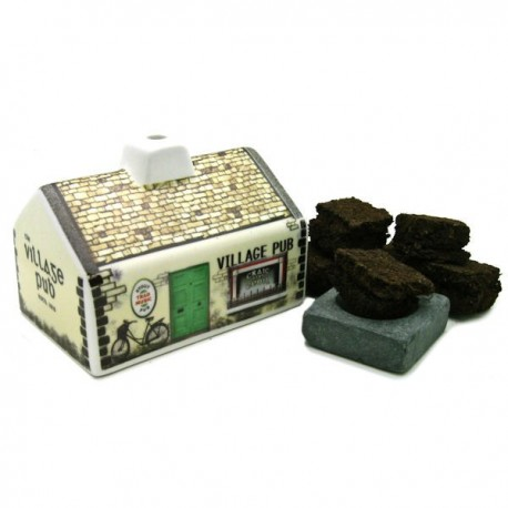 Irish Turf Incense Ceramic Village Pub Set