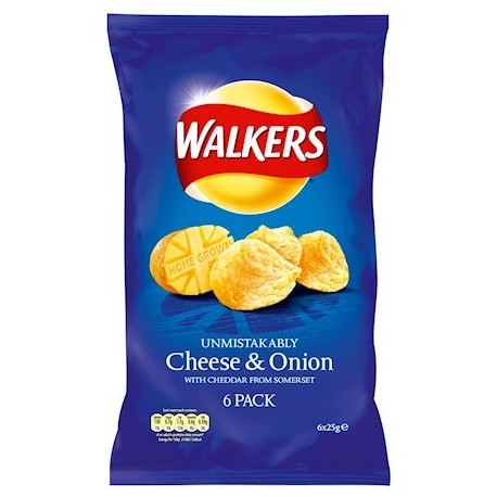 Walkers Cheese & Onion Crisps - 6 Pack