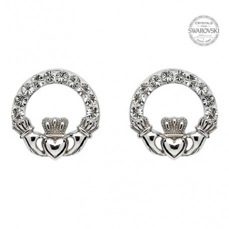 Swarovski Crystal Claddagh Stud Earrings