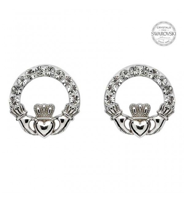 with silver marcasite gemstones products claddagh stud earrings