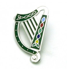 Sea Gems Irish Harp Enamel Brooch - SLV/BLK