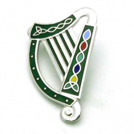 Sea Gems Irish Harp Enamel Brooch - SLV/BLK