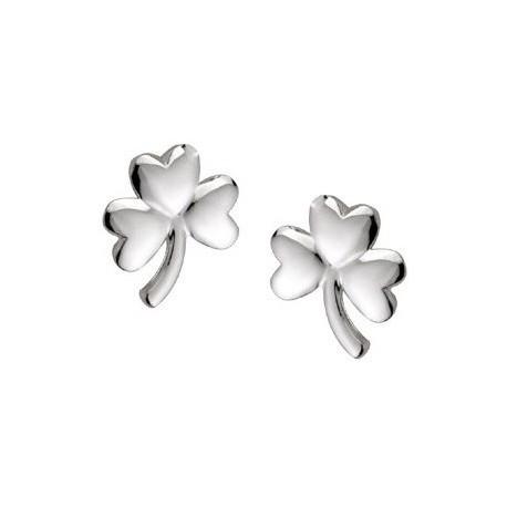 Solvar Shamrock Silver Stud Earrings