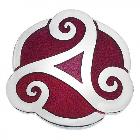 Sea Gems Celtic Triskele Red Enamel Brooch