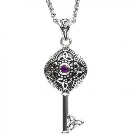 Celtic Tribal Silver Stone Set Trinity Knot Key