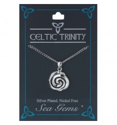 Sea Gems Plated Celtic Spiral Pendant