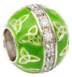 ShanOre Green Enamel Trinity Bead