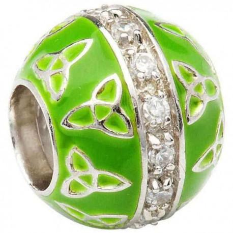 Shanore Green Enamel Trinity Bead Charm