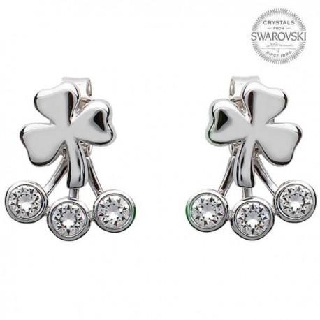 Silver Shamrock Earrings With Swarovski Crystal