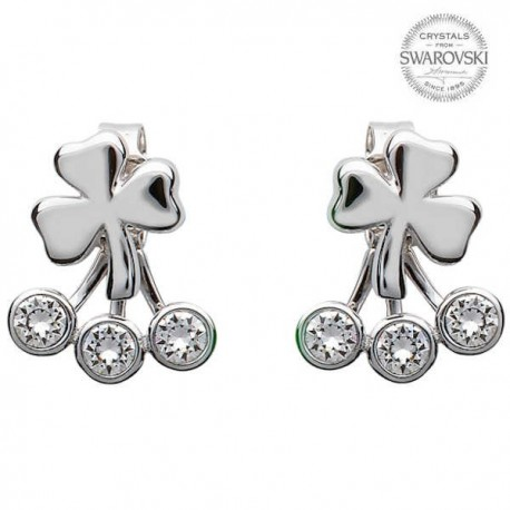 Silver Shamrock Earrings With Swarovski Crystal
