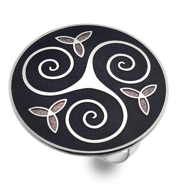 Celtic Birds Enamel Scarf Ring Gift Boxed