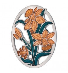 Sea Gems Welsh Daffodils Enamel Brooch