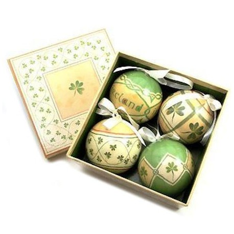Irish Shamrocks Christmas Baubles Box Set