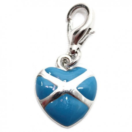 Scottish Saltire Heart Clip Charm