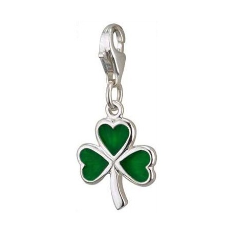 Irish Green Shamrock Clip Charm