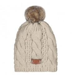 Aran Traditions Pom Pom Beanie Hat - Oatmeal