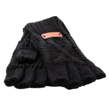 Aran Traditions Fingerless Gloves - Black