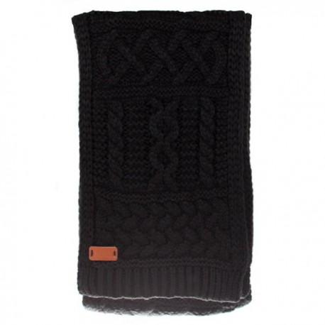 Black Aran Cable Knit Scarf - Black