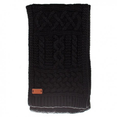 Black Aran Cable Knit Scarf - Black