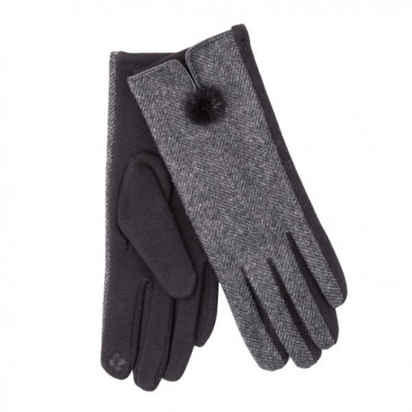 Ladies Herringbone Mini Pom Pom Glove - Grey
