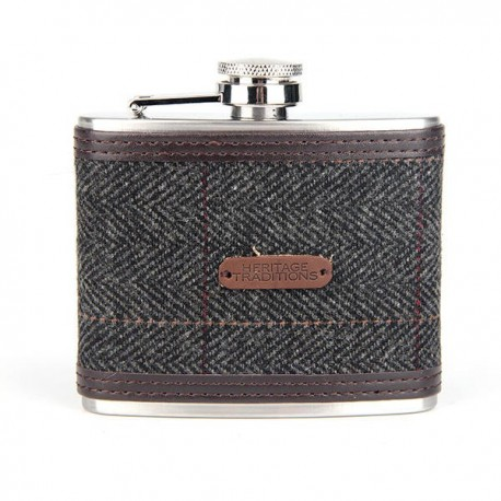 Tweed Hipflask 4oz - Grey Herringbone
