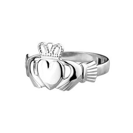 Solvar Mens Traditional Silver Claddagh Ring