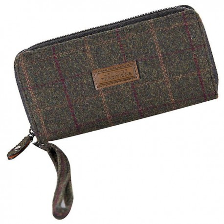 Heritage Long Zip Purse- Green Check Tweed