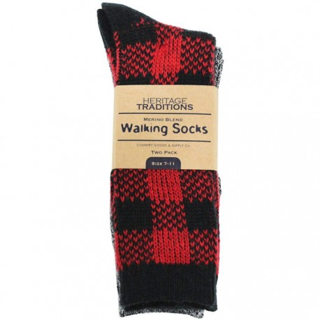 Heritage Traditions Red Check Walking Socks