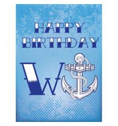 W Anchor Birthday Card