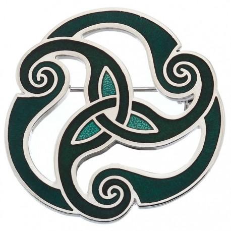 Celtic Triskele Enamel Brooch