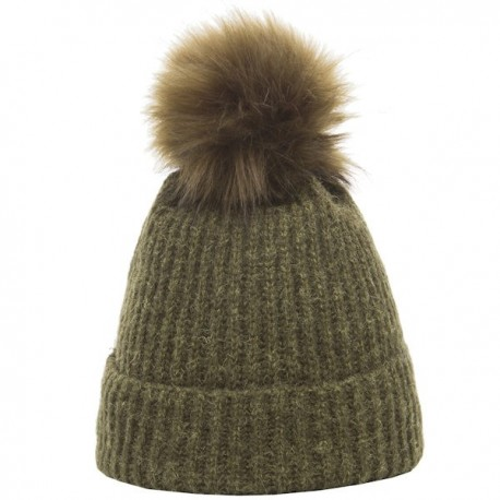 Heritage Traditions Faux Pom Pom Rib Knit Hat - Green