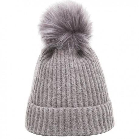 Heritage Traditions Pom Pom Rib Knit Hat - Grey