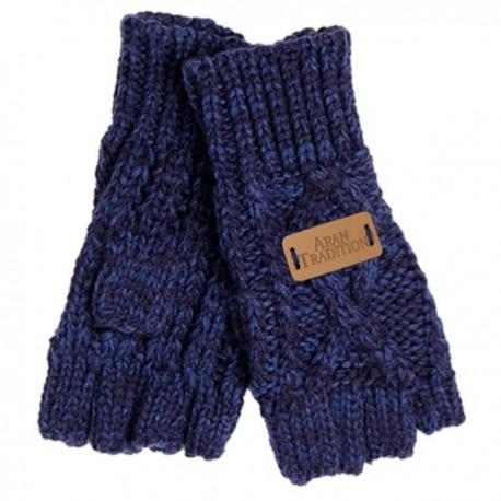 Aran Traditions Fingerless Gloves - Navy
