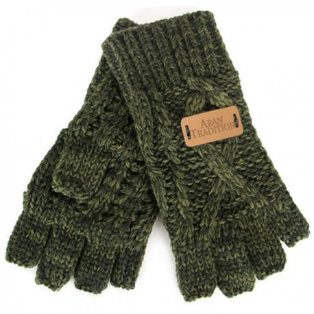 Aran Traditions Fingerless Gloves - Green