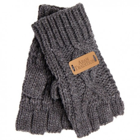 Aran Traditions Fingerless Gloves - Grey