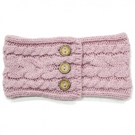 Aran Traditions Donegal Button Knit Headband - Rose