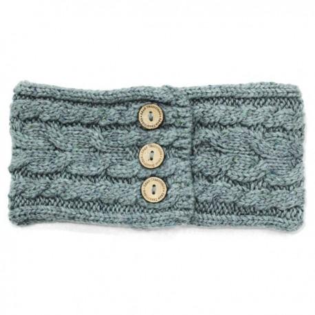 Aran Traditions Donegal Button Knit Headband - Jade